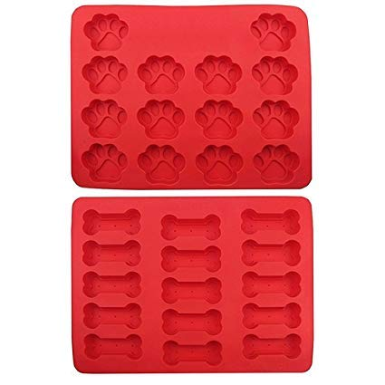 Silicone Dog Tray Mold, 2 Pack Ice Cube Puppy Paws and Bones Shapes, FDA...
