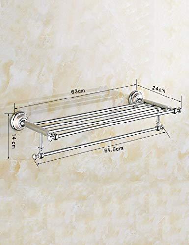 Cuarto de baño de toallas, de estilo europeo, Carril de toalla doble plataforma Conjunto de 2 capas de espejo de cobre sólido Frente estantería de baño WC hardware colgante que garantice la calidad, t