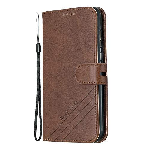 Lomogo Huawei Y5 2019 / Honor 8S Hülle Leder, Schutzhülle Brieftasche mit Kartenfach Klappbar Magnetisch Stoßfest Handyhülle Case für Huawei Y5 2019 - LOHEX120385 Braun
