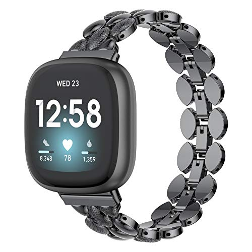 last chance order the fitbit versa 3 in time for christmas Moolia Compatible with Fitbit Versa 3 / Fitbit Sense Bands Metal Fashion Women Replacement Strap Bracelet for Versa 3 Smart Watch Band (Black)
