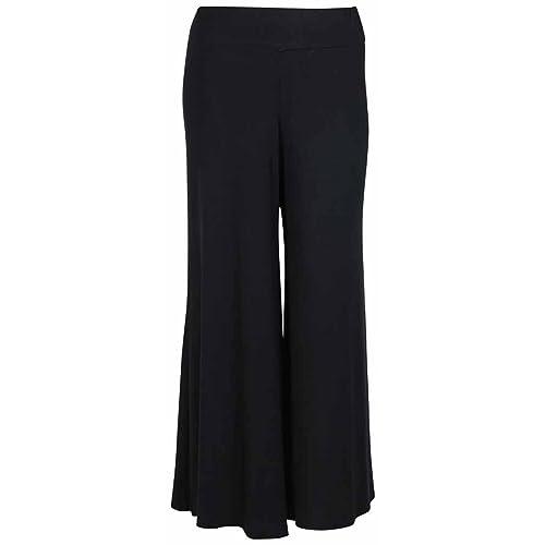 7937c3d09b Womens New Black Wide Leg Flared Trousers Ladies Plain Stretch Fit  Elasticated Waist Long Palazzo Pants