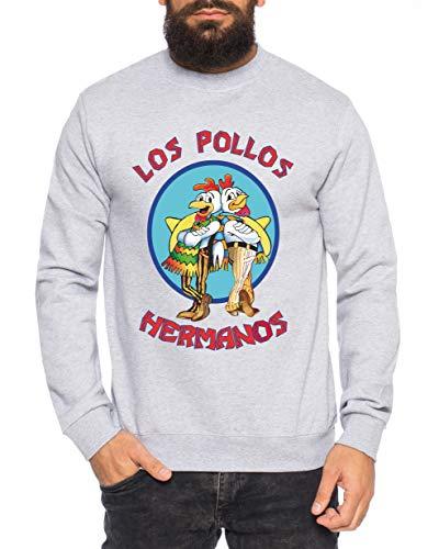 Sambosa Los Breaking Walter Crystal Herren Sweatshirt Pullover Bad Meth White tv Serie, Farbe:Grau, Größe:L