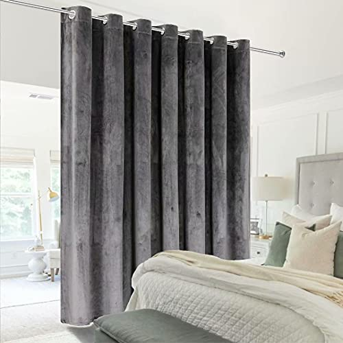 Victree Room Divider Curtain for Bedroom, Wide Velvet Curtains for Sliding Glass Door, Grommet Screens Sound Proof Privacy Curtain Panel for Living Room, 1 Panel, 9ft Wide x 7ft Tall, Dark Grey