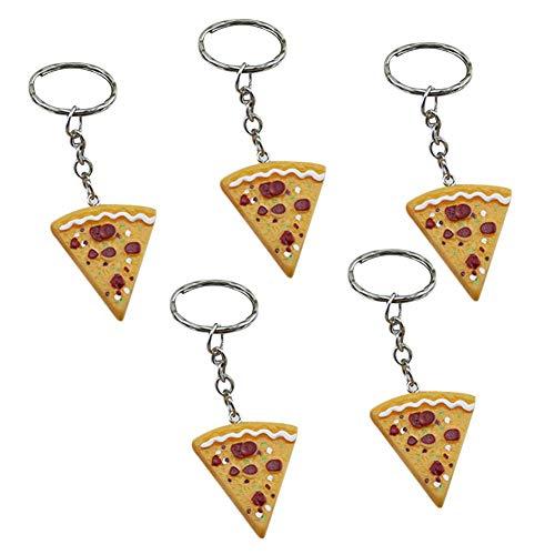 Renquen 5 pz resina simulazione Pizza auto portachiavi portachiavi portachiavi catena anello per donne