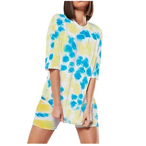 Hffan Damen Tie-Dye Kurzarm Yoga Shirts O-Ausschnitt Tops Beach Shorts Sommersport Casual Set