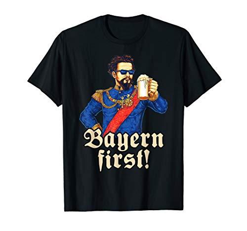 Bayern First -blauer König Ludwig Bier T-Shirt Bayern T-Shirt