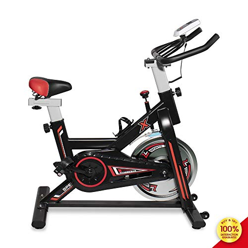 MOOSENG Indoor Cycling Exercise Bike, Fitness Trainer Smooth Bicycle Stationary, Health Workout with Water Bottle Holder and Soft Saddle,Wheel, Black Red Bikes Exercise indoor