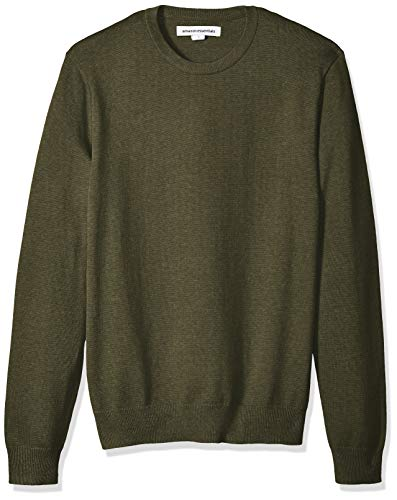 Amazon Essentials Men's Crewneck Sweater, Olive Heather, Small
