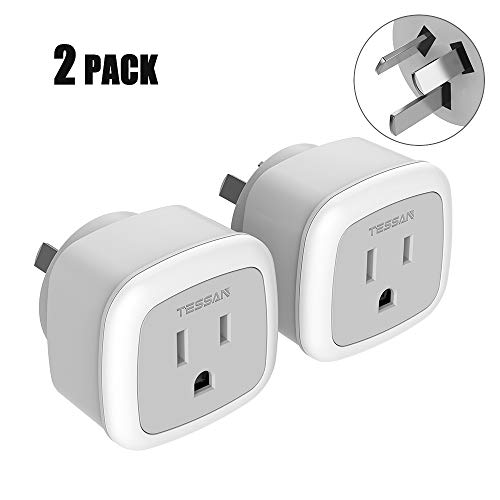 Australia New Zealand China Power Plug Adapter, TESSAN Travel Adaptor for US to Argentina Fiji -Type I Australian Outlet Charger - 2 Pack