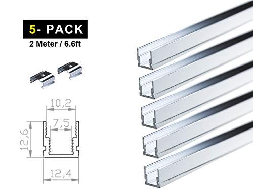 Ogeled LED Profi Aluminium Profile für LED-Strips (Zubehör) (U 8mm (5 Stück), 2m)