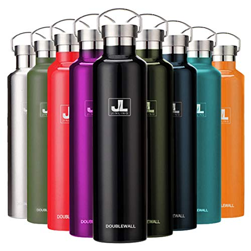 スポーツボトル 真空断熱 保冷水筒 ステンレス鋼304 魔法瓶 直飲み 0.5/0.6/0.75/1リットル (ブラック, 1000ml)