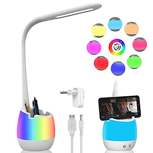 ERAY Lámpara Escritorio LED con Portalápiz 4 en 1, Batería Recargable 2000mAh, Base de Cambio de Color (Luz nocturna), Soporte para Móvil, 3 Modos y 3 Niveles de Brillo, Control Táctil, Color Blanco