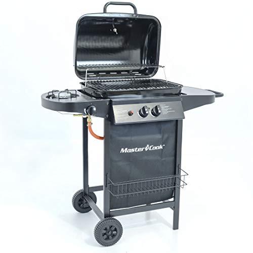 Mastercook ® - Barbecue a Gas, BBQ a Gas, Grill a Gas, 2 Tavoli a Lato e Carrello in Acciaio, Grill Barbecue a Gas Compatto