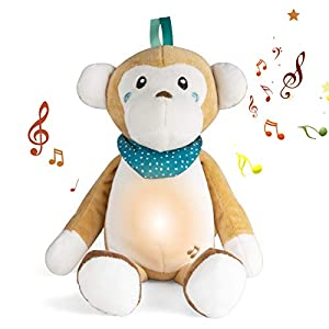 crib bedding and baby bedding sleep soothers for sleeping baby, baby lullaby stuffed animal plush toy, white noise sound machine, portable sleep aid night light for newborns and toddlers (monkey)