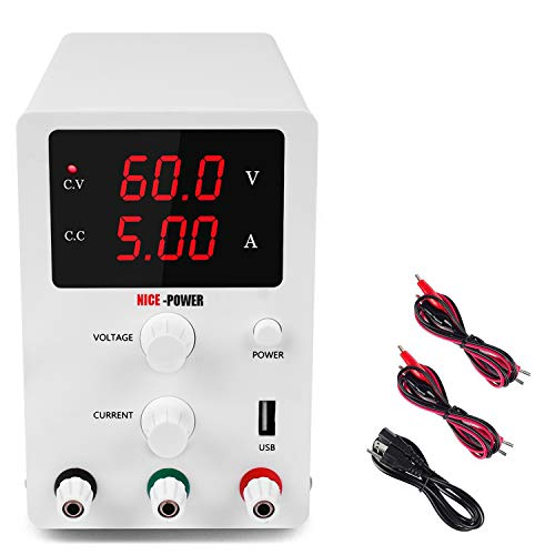 DC Power Supply Variable 3 Digital LED Display Adjustable Regulated Switching Power Supply Digital with Leads Power Cord (60V 5A)