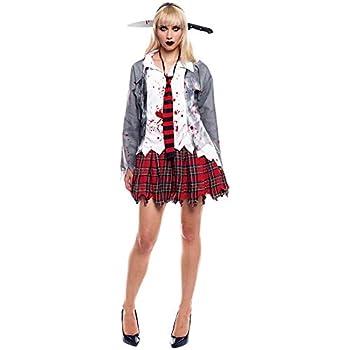 Partilandia Disfraz Zombie Colegiala para Mujer Uniforme Gris (L ...