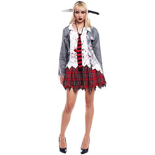 Partilandia Disfraz Zombie Colegiala para Mujer Uniforme Gris (L) Halloween (+ Tallas)