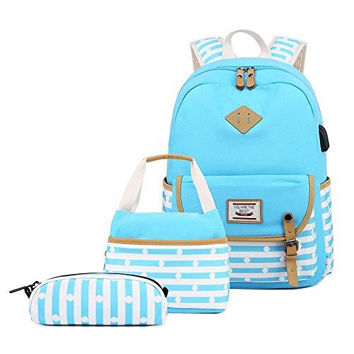 Bansusu Juego de 3 bolsas de lona para mujer con diseño de rayas  mochila y almuerzo