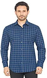 Global Rang Checks Blue Casual Shirt for Men Stylish