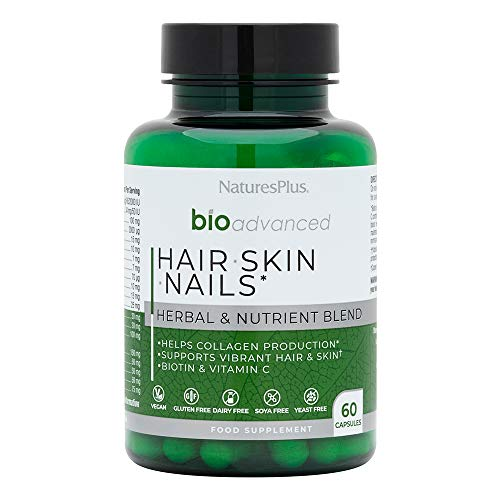 NaturesPlus BioAdvanced Hair Skin Nails, Vegan Collagen Support with Biotin, Hyaluronic Acid, Turmeric, Sea Buckthorn, MSM, Vitamin A, C, E - Dairy, Gluten, Yeast and SOYA Free - Vegan - 60 Capsules