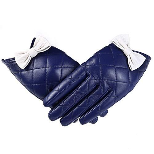 AiKoch Invierno Mujer Guantes De Cuero Genuino Blanco Negro Touch Screen Guantes Muchachas De Las Señoras De Las Manoplas Cold Protection (Color : Blue, Gloves Size : L.)