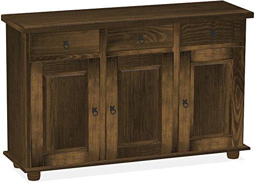 Brasilmöbel Sideboard, Pinie Massivholz, geölt und gewachst Eiche antik, L/B/H: 129 x 40 x 83 cm