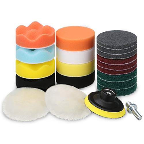 MATCC Drill Polishing Buffing Pad Kit 3 Inch Car Foam Drill Polish Scouring Pads Power Scrubber Brush Scrub Pads Sponge Polisher Attachment for Drill & Kitchen Tiles Sinks Bathtub Floor Cleaning