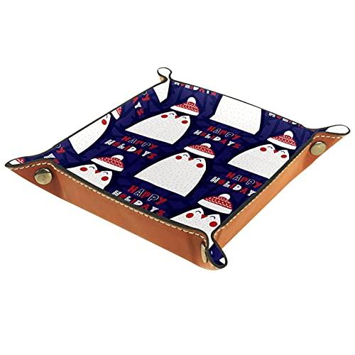 Yitian Bandeja de cuero PU joyería de cuero Catchall lindo pingüino de dibujos animados sombrero de Navidad para cambio joyería clave teléfono relojes dados elegancia suave cuero reciclable