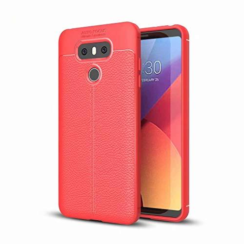 NiaCoCo Compatible con LG G6 Funda Textura de La Piel TPU Suave Fino Anti Huella Digital Resistencia Al Terremoto Anti-Caída Caso+1*(Gratis Soporte para Teléfono)-Rojo