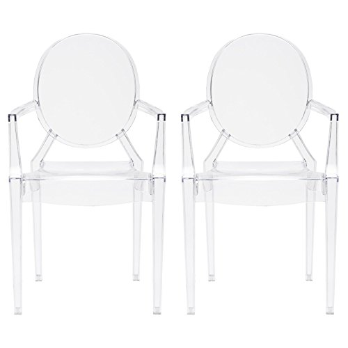 Poly and Bark Burton Arm Plastic Dining and Patio Ghost Chair, Stackable, Fully Assembled, Suitable for Indoor & Outdoor, Clear (Set of 2)