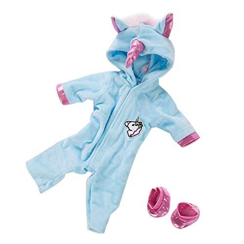 CUTICATE Einteiliger Puppen Overall Mädchenpuppen Bekleidung Unicorn Jumpsuit Schuhe Set - Blau