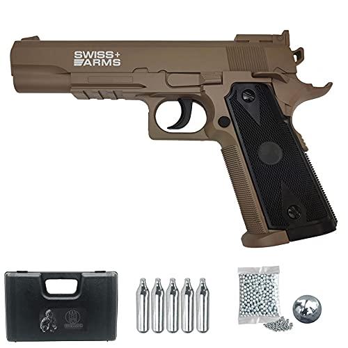 SA P1911 Match (Tan) | Pistola de balines (Bolas BB's de Acero) y CO2 Color Arena. Semiautomática, Calibre 4,5mm