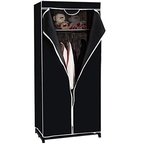 COSTWAY Kleiderschrank Stoffschrank, Faltschrank Textilschrank Campingschrank Stoffkleiderschrank Faltkleiderschrank, mit Kleiderstange, 172x74x50cm, Farbewahl (schwarz)