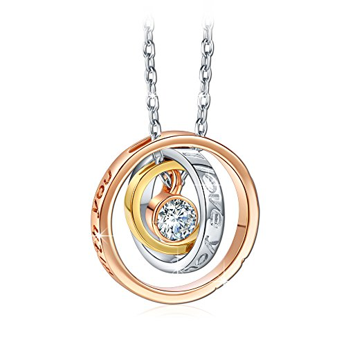 QIANSE Mother's Day Gift for Mom, I Love You Mom Necklace, Rose Gold Cubic Zirconia Necklace for Women, Gift with Delicate Jewelry Box, Jewelry Gifts for Mom Wife from Son Daughter Husband