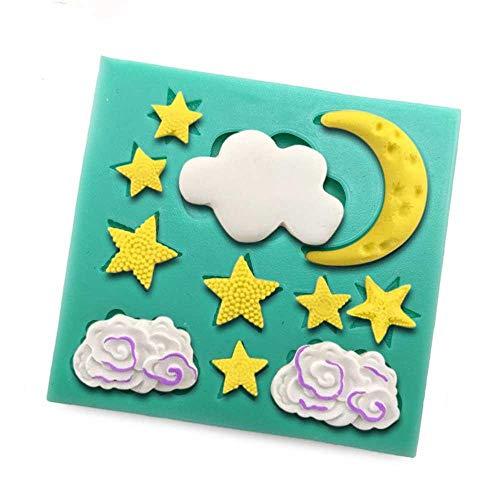 DACCU Ramadan Maan en sterren siliconenvormen voor cake fondant cake vorm chocolade zeep vorm vlokken wolken cake gereedschappen F0845YL