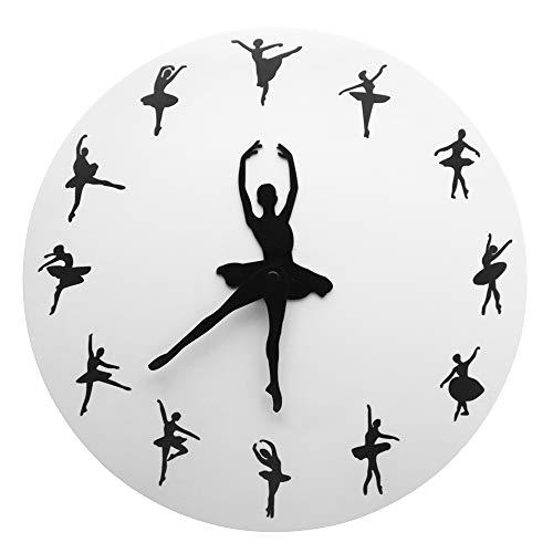 TOOGOO Tiempo de Ballet Reloj de Pared Bailarina Bailarina Reloj Decorativo de Ballet Reloj de Pared Sala de Ni?As Estudio de Baile DecoracióN Bailarines de Ballet Regalo