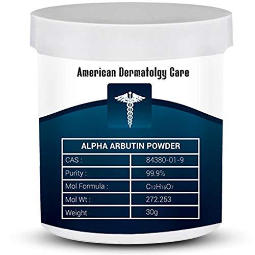 Pure Alpha Arbutin Powder 30 grams / 1.05 oz 99.9% Purity - Skin Lightening Pharma Grade GMO Free Use in Serums & Creams Cosmetic Formulation