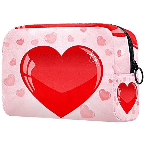 Bolsa de cosméticos Bolsa de Maquillaje Bolsa de cosméticos de Viaje, Bolso de Mano, Bolso de baño,Corazón de Burbujas de Color Rosa día de San Valentín