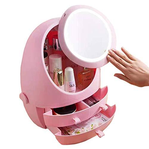 XMZFQ Maquillage Organisateur cosmétiques Boîte de Rangement avec LED Lighted Miroir et 3 tiroirs pour Bijoux et cosmétiques en Salle de Bains Dresser Meuble-lavabo,Rose,No Lights