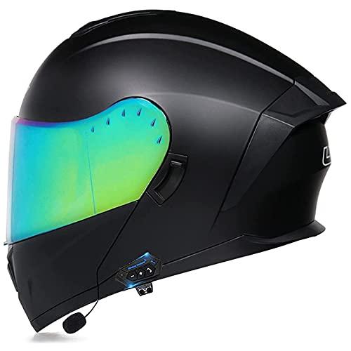 Casco de Moto Modular con Bluetooth Integrado Casco Moto Integral,ECE Homologado Casco Modular Moto Hombre Mujer Adultos,Cascos Modulares con Doble Visera para Motocicleta Scooter U,M=57-58cm