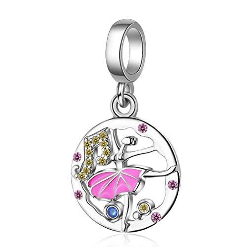FeatherWish - Colgante de plata de ley 925 con diseño de bailarina de ballet con esmalte rosa y...