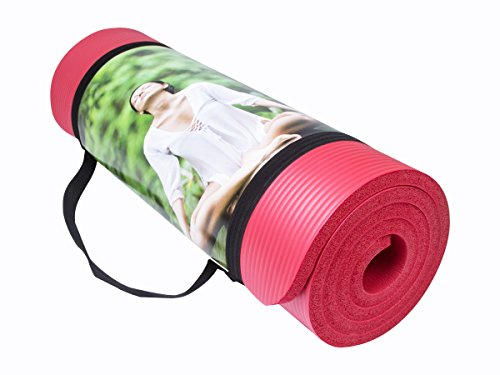 MIYOUDA All-purpose tappetino di Yoga anti-strappo 10mm per alta densit¨¤ per pilates, fitness, allenamento e danza con cinghia di trasporto183cm rosso