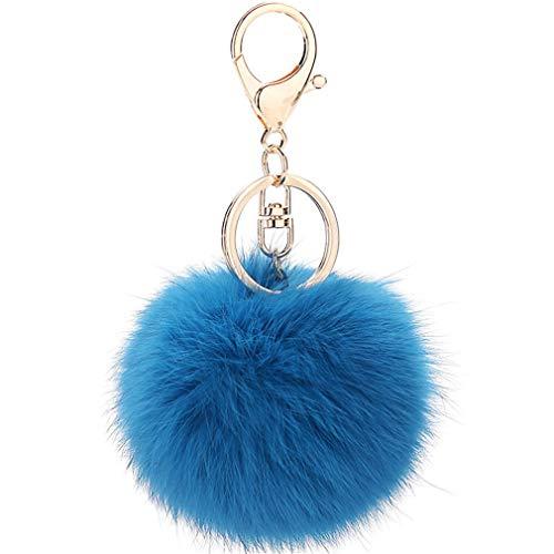 Schlüsselanhänger plüsch Ball Keychain Elegant Plüsch-Kugel Auto-Anhänger Taschenanhänger bommel Pompom Weich Schlüsselring Handtaschenanhänger Dekor (Blau-A)