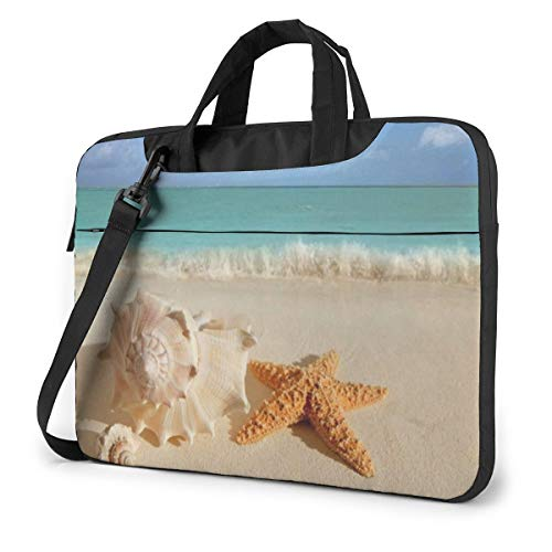 Laptop Bag 15.6 Inch Laptop Sleeve Case with Shoulder Straps & Handle/Notebook Computer Case Briefcase Compatible with MacBook/Acer/Asus/Hp - Seashells Starfish On The Beach