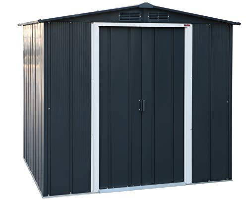 Duramax ECO 6 x 6 Hot-Dipped Galvanized Metal Garden Tool Storage Shed-Anthracite with Off-White Trimmings