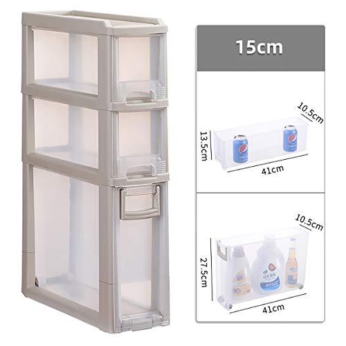 15cm Kunststoff Grenzen Kabinett, Küche und Bad Wasserdicht Crevice Lagerschrank Drawer Storage Locker ctg (Size : 3 drawers)