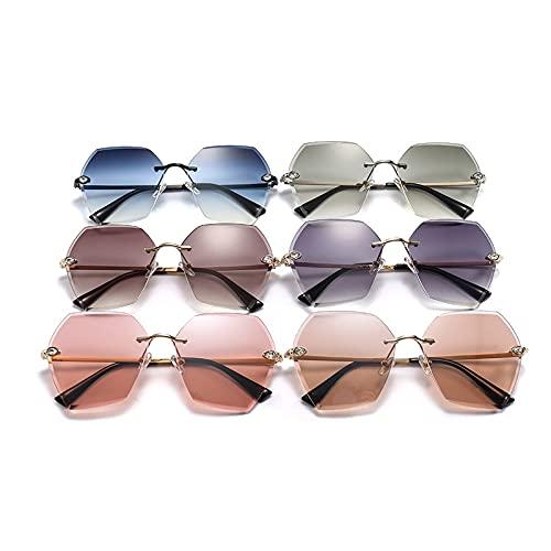 Moda Gafas De Sol De Piedra Retro para Mujer, Gafas De Sol Sin Montura con Corte De Diamante para Hombre, Gafas De Club Al Aire Libre, Sombras, Verde, Gris, Lente