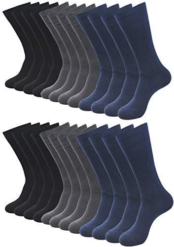 BALENZIA Men's Mercerized and Combed Cotton Full Length Socks, Crew & Calf Length Socks for Men- (Black,Navy, Dark Grey, Free Size) Assorted Combo Pack of 12