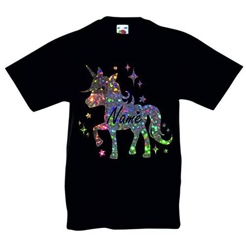 Print my Tee Camiseta con diseño de Unicornio para niñas de 12 a 13 años Negro Negro (3-4 Años