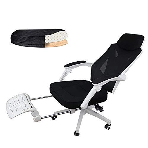 Busirsiz Reclinables silla de oficina, ajustable ergonómico de espaldar alto reclinable rejilla ordenador, arqueado telesilla silla giratoria silla de oficina en casa de malla con reposapiés y el apoy